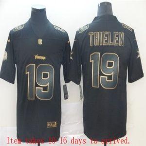 Vikings #19 Adam Thielen Black Golden Jersey